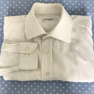 YSL White Cotton Dress Shirt Sz 16.5